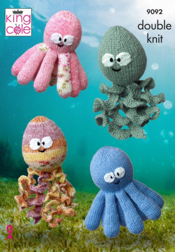 King Cole 9092 Knitting Pattern Octopus and Squid Toys